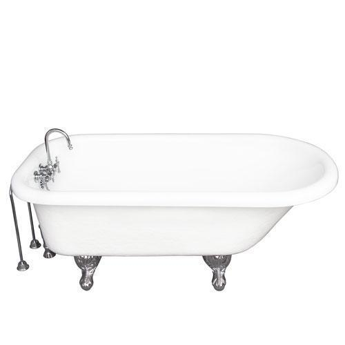 "Andover 60"" Acrylic Roll Top Tub Kit in White - Polished Chrome Accessories"