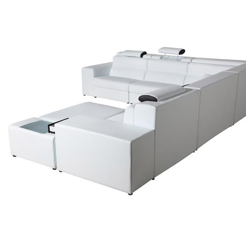 VIG Furniture - Divani Casa Polaris - Contemporary White Bonded Leather U Shaped Sectional Sofa with Lights