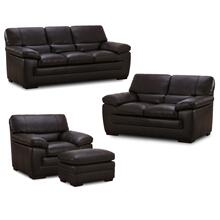 6983 FLEETWOOD: Leather Ottoman in Stallion Dark Brown (MFG#: 6983-06-MG0B)