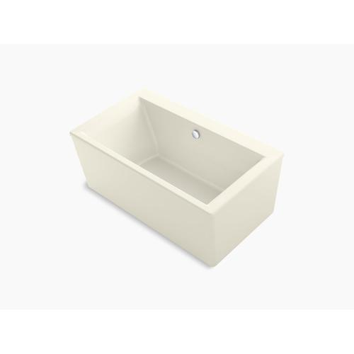 """Biscuit 60"""" X 34"""" Freestanding Bath With Straight Shroud and Center Drain"""