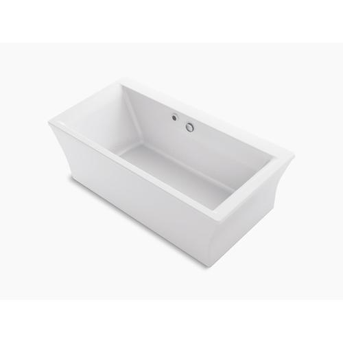 "White 60"" X 34"" Freestanding Bath With Bask Heated Surface and Fluted Shroud"