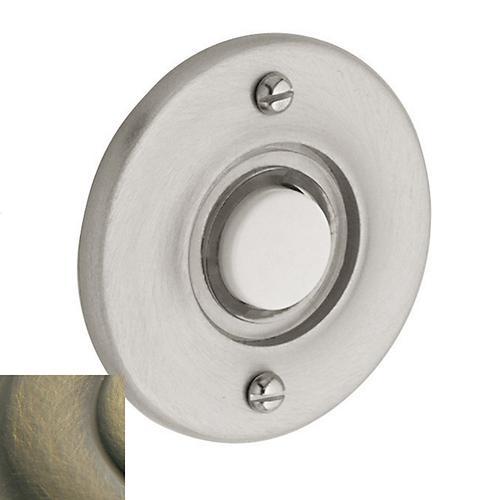 Satin Brass and Black Round Bell Button