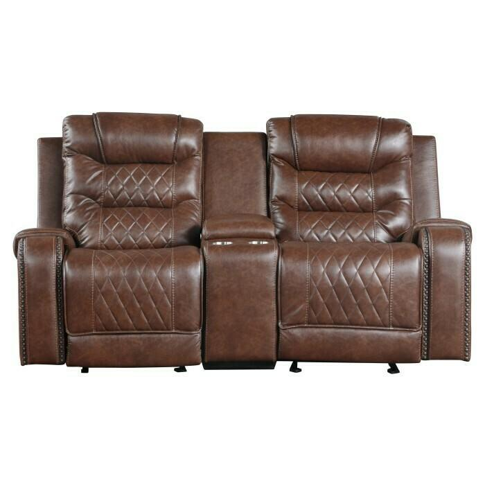 Double Glider Reclining Love Seat with Center Console, Receptacles and USB port
