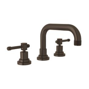 Campo U-Spout Widespread Bathroom Faucet - Tuscan Brass with Industrial Metal Lever Handle