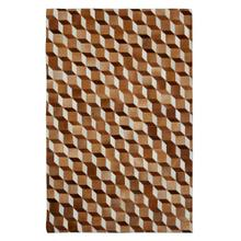 See Details - This hair on hide leather rug gives warmth to hardwood and marble floors. The tumble block pattern has a classic illusion in natural hide tones combining warm white, vanilla, and eggshell colors with diverse espresso, chocolate and bronze on opposing sides. Variations in shades and pile direction are a common characteristic of natural skins. This is an all natural animal skin product that with regular wear will change in look over time. This hand assembled product is not recommended for high traffic areas such as dining rooms, and special care should be exercised when moving furniture.