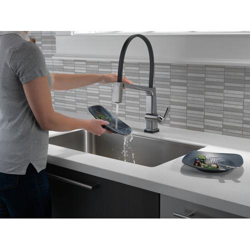 Arctic Stainless Single Handle Exposed Hose Kitchen Faucet with Touch 2 O Technology