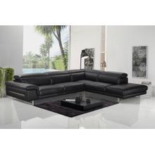 View Product - Accenti Italia Westport - Italian Modern Dark Grey Leather Right Facing Sectional Sofa