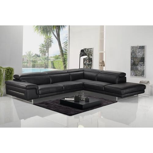 VIG Furniture - Accenti Italia Westport - Italian Modern Dark Grey Leather Right Facing Sectional Sofa