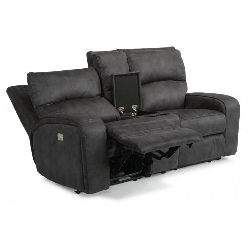 Rhapsody Power Reclining Loveseat with Console & Power Headrests
