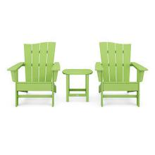 View Product - Wave 3-Piece Adirondack Chair Set in Vintage Lime