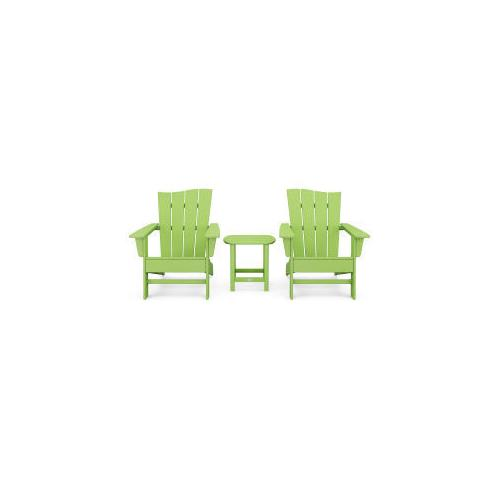 Polywood Furnishings - Wave 3-Piece Adirondack Chair Set in Vintage Lime