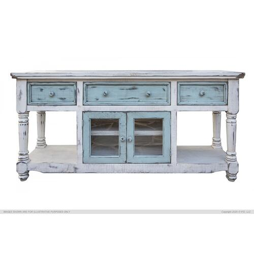 "70"" TV Stand in White Finish, w/3 sky blue drawer & 2 sky blue doors"