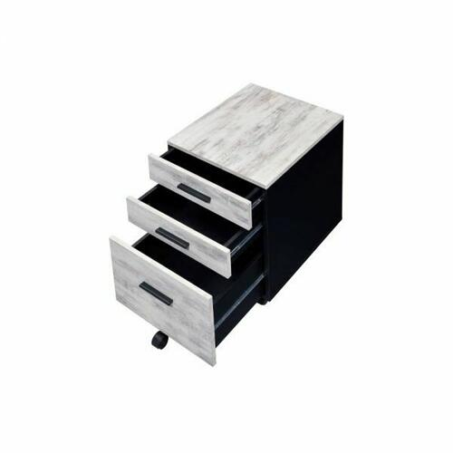 ACME Jurgen File Cabinet - 92918 - Industrial, Contemporary - Veneer (PVC), PB, Casters - Antique White and Black