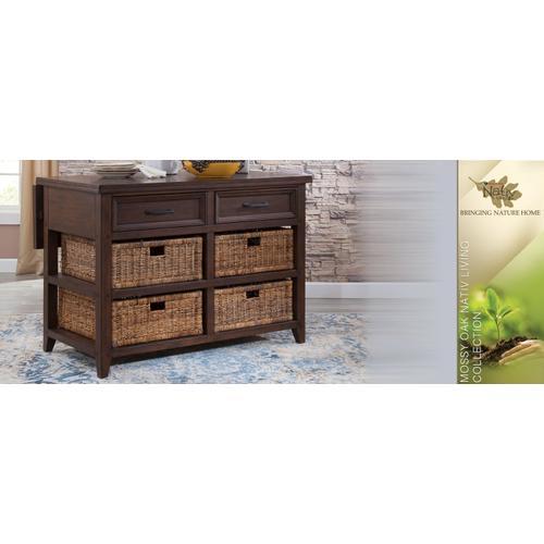 "Sunny Designs - Mossy Oak Kitchen Island Table w/ 13"" Folding Leaf"