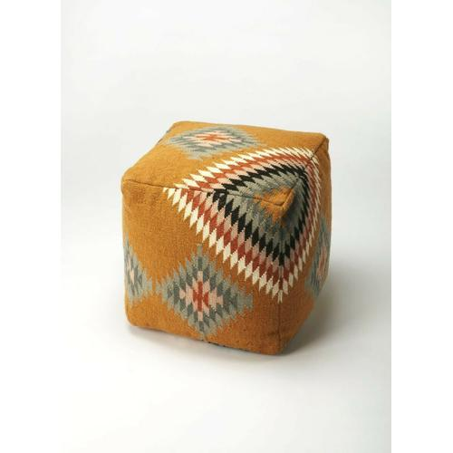Featuring a bold, colorful chevron pattern, this decorative pouffe will add southwestern flair to your space. With an outer shell of 100% wool felt and filled with high density thermocol beans for comfort and durability, it is great anywhere extra seating