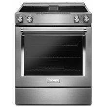 See Details - 30-Inch 4-Element Electric Downdraft Slide-In Range - Stainless Steel