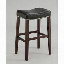 """ACME Lewis Counter Height Stool (Set-2) - 96293 - Black PU & Espresso - 26"""" Seat Height"""
