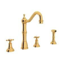 Edwardian 4-Hole Kitchen Faucet with Sidespray - English Gold with Cross Handle