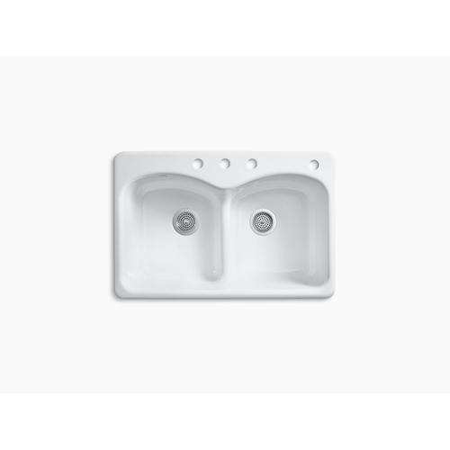"""Biscuit 33"""" X 22"""" X 9-5/8"""" Top-mount Smart Divide Double-equal Kitchen Sink With 3 Faucet Holes and One Accessory Hole"""