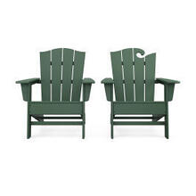 View Product - Wave 2-Piece Adirondack Chair Set with The Crest Chair in Green