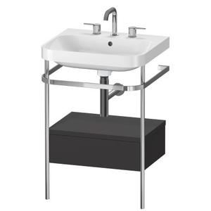 Furniture Washbasin C-shaped With Metal Console Floorstanding, Graphite Super Matte