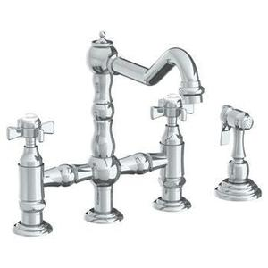Deck Mounted Bridge Kitchen Faucet With Side Spray Product Image