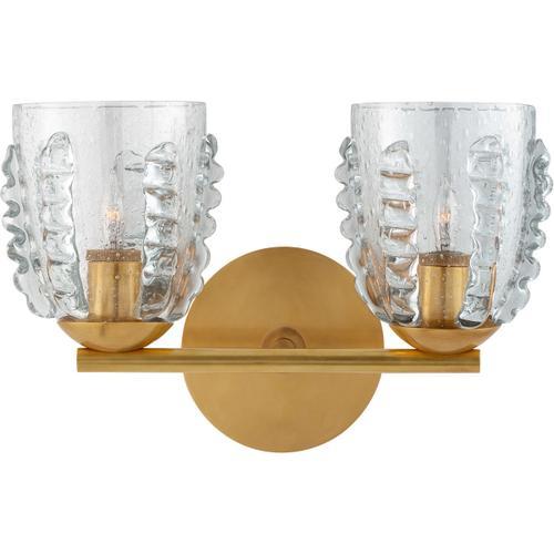 AERIN Gisela 2 Light 14 inch Hand-Rubbed Antique Brass Double Sconce Wall Light