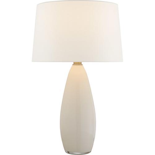 Chapman & Myers Myla 30 inch 100 watt White Glass Table Lamp Portable Light, Large