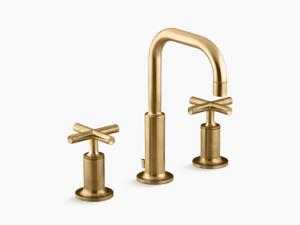Vibrant Moderne Brushed Gold Widespread Bathroom Sink Faucet With Low Cross Handles and Low Gooseneck Spout Product Image