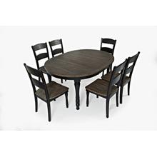 Madison County Round To Oval Table & 6 Chairs Vintage Black