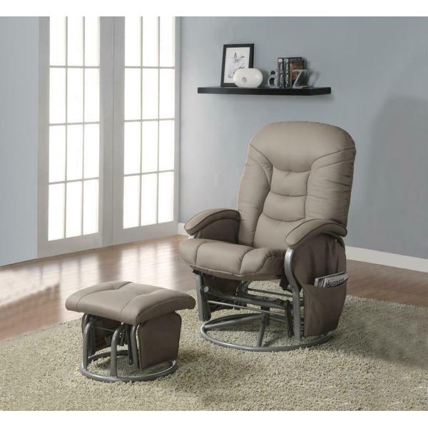 See Details - Casual Faux Leather Glider Recliner