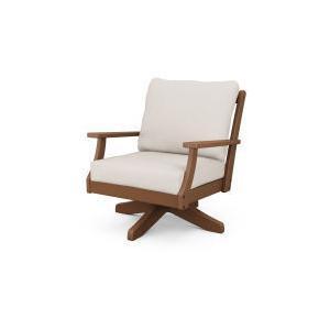 Polywood Furnishings - Braxton Deep Seating Swivel Chair in Teak / Antique Beige