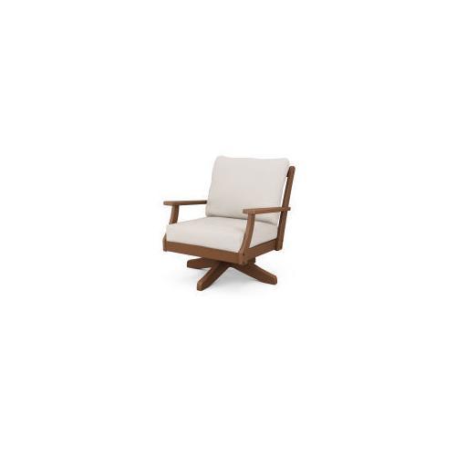 Braxton Deep Seating Swivel Chair in Teak / Antique Beige