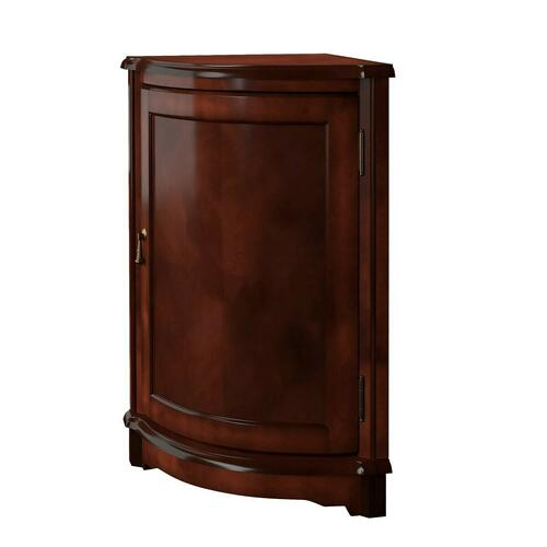 Perfect for dressing up a neglected corner. This cabinet features plantation cherry veneers along its top and door panel. The door, adorned with a pull in an antique brass finish, opens to reveal a shelf within its always-welcome storage space. Crafted f