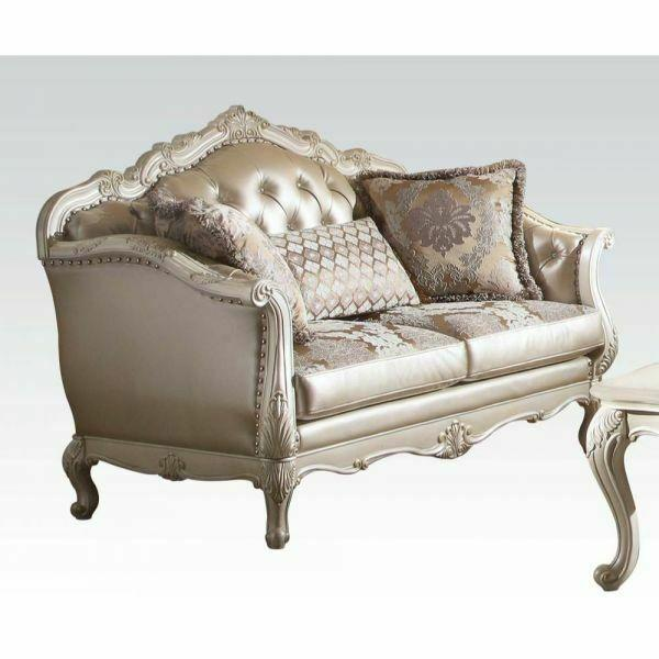 ACME Chantelle Loveseat w/3 Pillows - 53541 - Rose Gold PU/Fabric & Pearl White