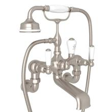 Edwardian Exposed Wall Mount Tub Filler with Handshower - Satin Nickel with Metal Lever Handle