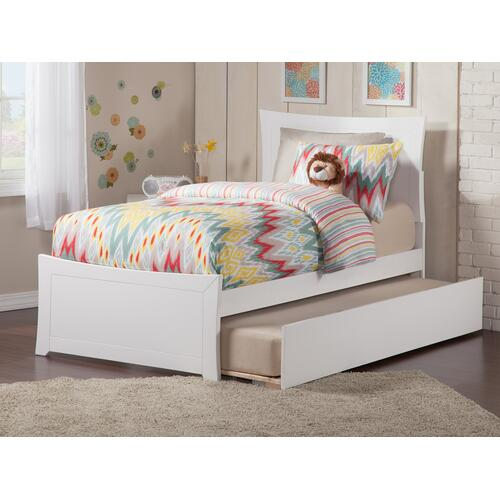 Metro Twin Bed with Matching Foot Board with Urban Trundle Bed in White