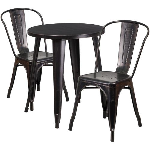 24'' Round Black-Antique Gold Metal Indoor-Outdoor Table Set with 2 Cafe Chairs