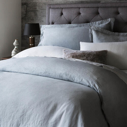 French Linen Duvet Set Queen Charcoal
