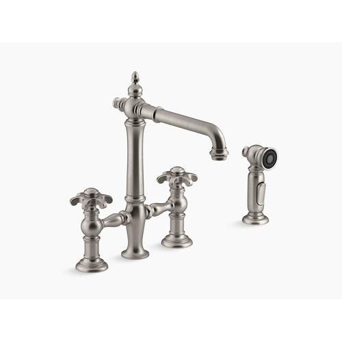 Vibrant Stainless Deck-mount Bridge Kitchen Sink Faucet With Prong Handles and Sidespray
