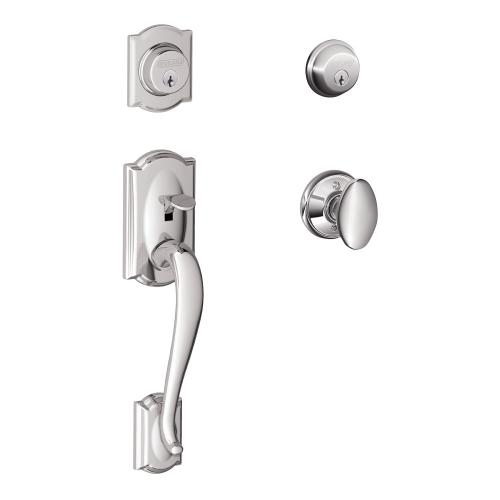 Camelot Double Cylinder Handleset and Siena Knob - Bright Chrome