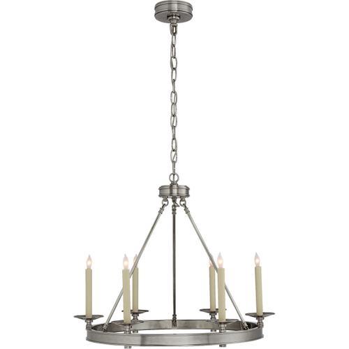 Visual Comfort - E. F. Chapman Launceton 6 Light 27 inch Antique Nickel Chandelier Ceiling Light, Small Ring