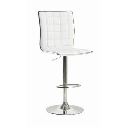 See Details - Waffle Adjustable White and Chrome Bar Stool