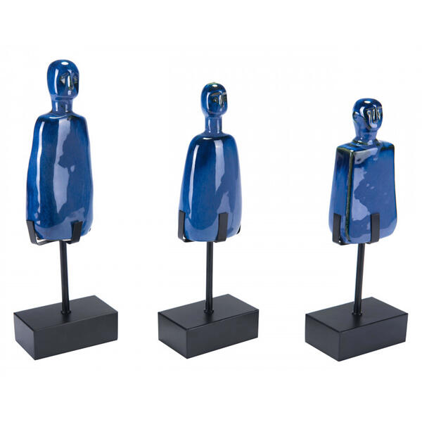 Set Of 3 Salar Figurines Blue