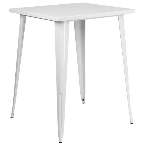 31.5'' Square Bar Height White Metal Indoor-Outdoor Table