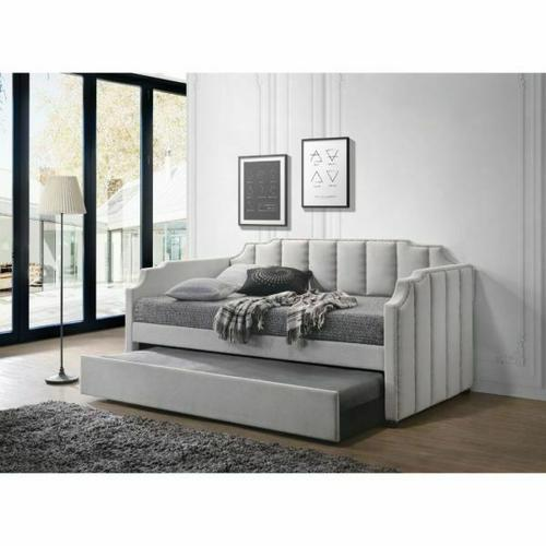 ACME Peridot Daybed & Trundle (Twin Size) - 39410 - Dove Gray Velvet