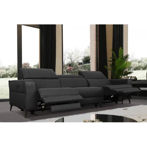 VIG Furniture - Divani Casa Nella - Modern Black Leather 4-Seater Sofa w/ Electric Recliners