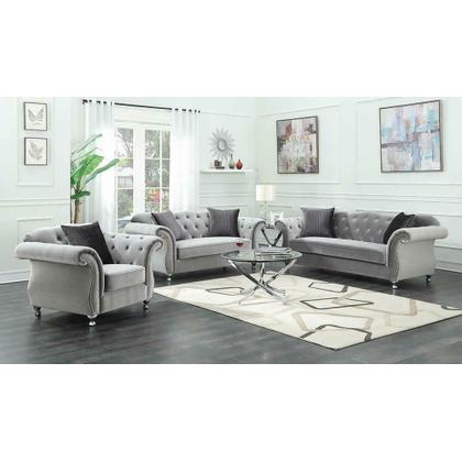See Details - Frostine Traditional Silver Loveseat