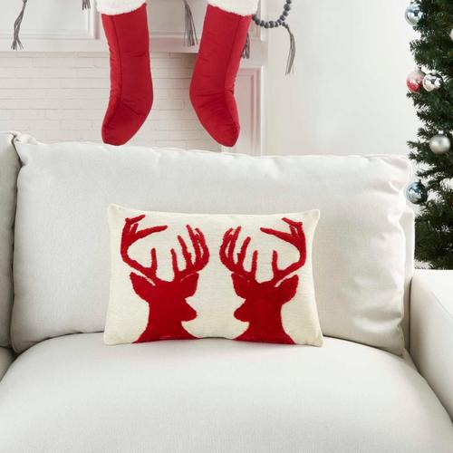 """Holiday Pillows Dv084 Ivory Red 12"""" X 18"""" Throw Pillow"""