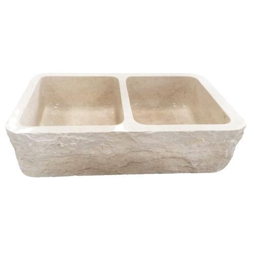 """Rushmore Double Bowl Marble Farmer Sink - 33"""""""